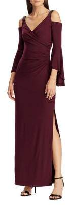 Lauren Ralph Lauren Beaded-Strap Faux Wrap Column Gown