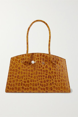 Little Liffner Faux Pearl-embellished Croc-effect Leather Tote - Mustard