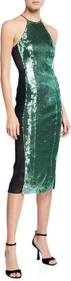 Galvan Sequined Sculpted Panel Dress