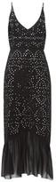 Saloni Aidan Mirror-work Silk-crepe Midi Dress - Womens - Black