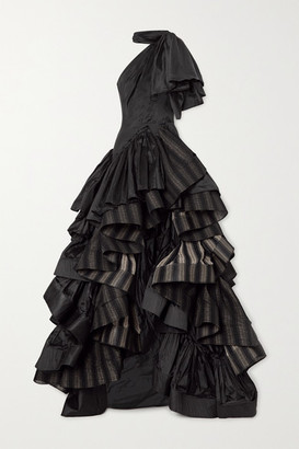 Maticevski Professed One-shoulder Ruffled Silk-satin And Striped Cotton-blend Gown - Black