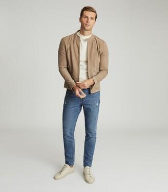 Reiss Asil - Distressed Slim Fit Jeans in Blue