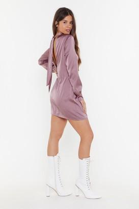 Nasty Gal Womens Come Back Anytime Satin Tie Dress - Purple - 6, Purple