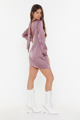 Nasty Gal Womens Come Back Anytime Satin Tie Dress - Mauve