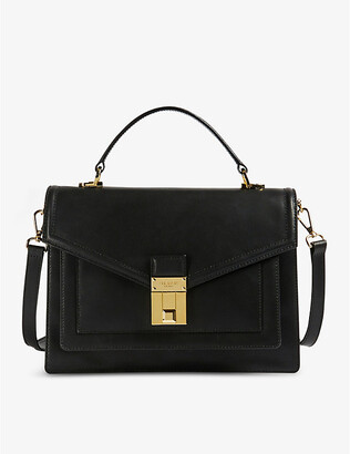 Ted Baker Kimmba luggage lock-detail medium leather satchel bag