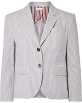 Thom Browne Striped Cotton-seersucker Blazer - Gray