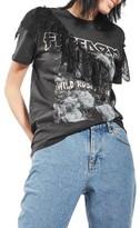 Topshop Petite Women's Lace Ruffle Rock Tee