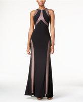 Night Way Nightway Mesh Open-Back Halter Gown