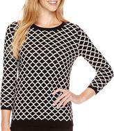 Liz Claiborne 3/4-Sleeve Patterned Crewneck Sweater
