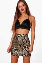 boohoo Petite Beth Brocade Print Mini Skirt