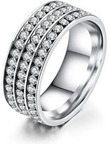 Fashion Ahead Unisex 3 Row Channel CZ Crystals Wedding Ring Engagement Band, Size 10