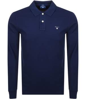 Gant Oxford Rugger Long Sleeve Polo T Shirt Navy