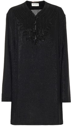 Saint Laurent Embellished silk-blend dress