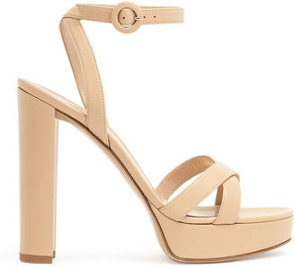 Gianvito Rossi Nude leather platform sandals