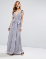 Little Mistress Chiffon Maxi Dress with Pleats and Embellished Shoulders