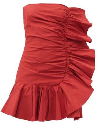 RED Valentino Strapless Ruffled Taffeta Dress - Red