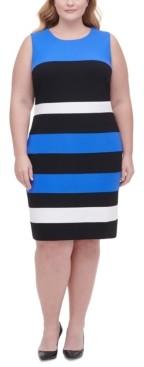 Tommy Hilfiger Plus Size Scuba Crepe Colorblock Sheath Dress