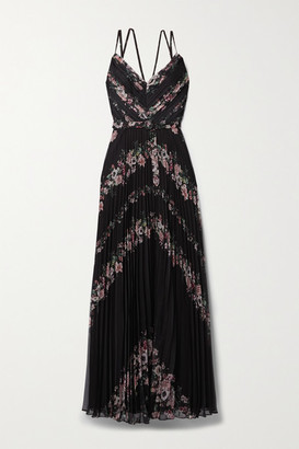 Marchesa Belted Floral-print Plisse-chiffon Gown - Black