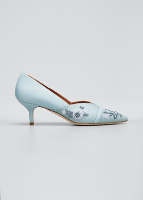 Malone Souliers Colette 45mm Floral Embroidered Raffia Kitten Heel Pumps