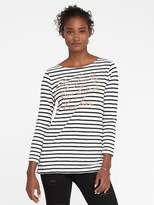 Old Navy Relaxed Glitter-Graphic Mariner-Stripe Tee for Women