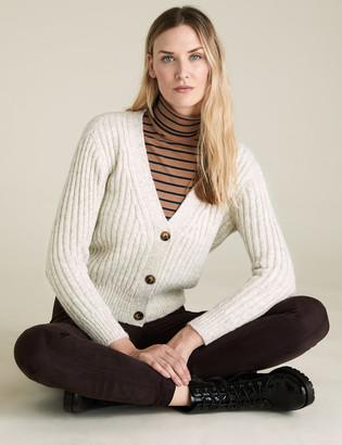 Marks and Spencer Textured V-Neck Relaxed Cardigan