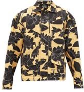Jacquemus Marcel Topstitched Floral-print Linen-blend Shirt - Mens - Black Yellow