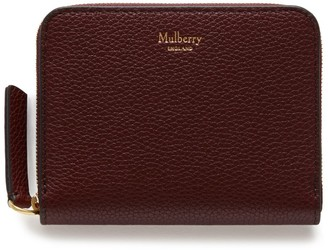 Mulberry Small Zip Around Purse Burgundy Small Classic Grain
