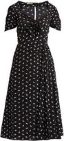 Miu Miu Cat-print sweetheart-neck silk midi dress