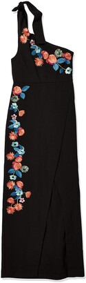 Nicole Miller Women's Daydream Embroidery Shoulder Tie Gown