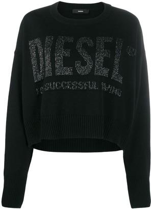 Diesel Intarsia Logo Cropped Jumper