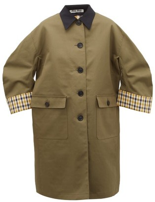 Miu Miu Single-breasted Checked-lining Cotton Coat - Khaki