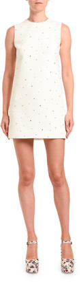 Miu Miu Crystal-Studded Cady Shift Dress