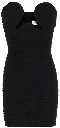 Saint Laurent Cut-out crApe-georgette strapless minidress