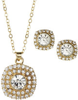 AK Anne Klein Gold-Tone Square Earrings & Necklace Set
