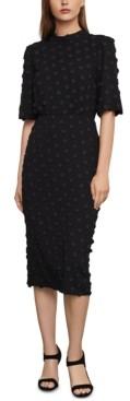BCBGMAXAZRIA Jacquard-Embroidered Midi Dress
