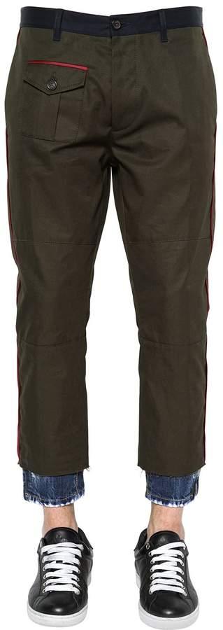 DSQUARED2 Hockney Cotton Twill Pants W/ Denim Hem