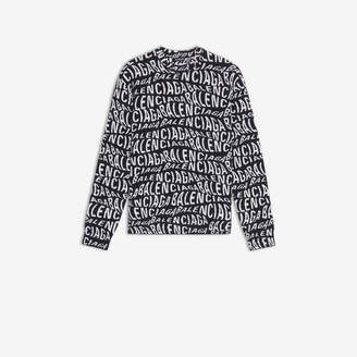 Balenciaga Logo Wave Crewneck Sweater
