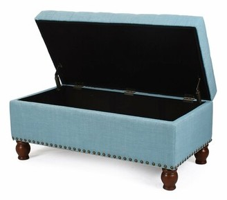 Three Posts Gourley Upholstered Flip Top Storage Bench Upholstery Color: Blue