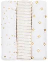 Aden Anais aden + anais Silver Printed White Swaddling Blanket - Pack of 3
