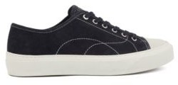 Suede sneakers with contrast seasonal stitching