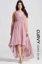 Little Mistress Curvy Dusty Pink Dipped Hem Maxi Dress