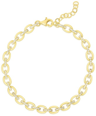 Sphera Milano 14K Yellow Gold Plated Sterling Silver Pave CZ Link Bracelet