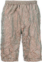 Paura metallic crinkle-effect shorts