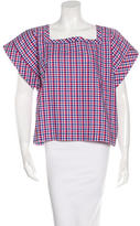 Stella Jean Gingham Print Short Sleeve Top