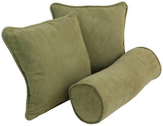 Blazing Needles Solid Microsuede Throw Pillows w/ Inserts, Set of 3, Aqua Blue, Sage G