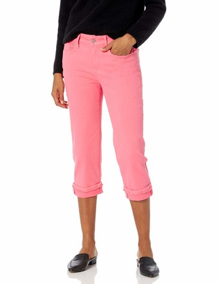 NYDJ Women's Misses Marilyn Straight Crop Jeans with FRAY Cuff