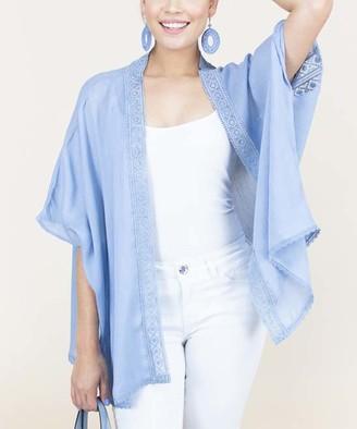 RQ Women's Kimono Cardigans LIGHT - Light Blue Edge Detail Sheer Kimono - Women