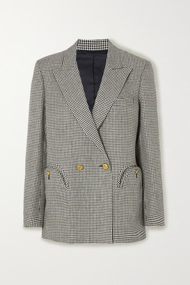 BLAZÉ MILANO Everynight Double-breasted Houndstooth Linen Blazer - Gray