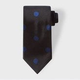 Paul Smith Men's Black Silk Tie With Navy Polka Dots