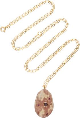Cvc Stones Tigresse 18K Gold Stone And Ruby Necklace